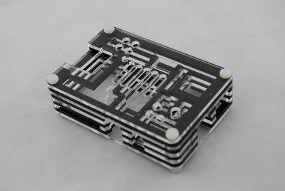 Zwart transparante behuizing Raspberry Pi model B+ 2 model B
